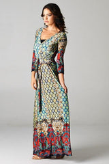 Boho Medallion Border Wrap Maxi Dress-GoGetGlam
