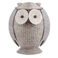 Boho Owl Wicker Laundry Basket Nursery Toys Home Storage-GoGetGlam