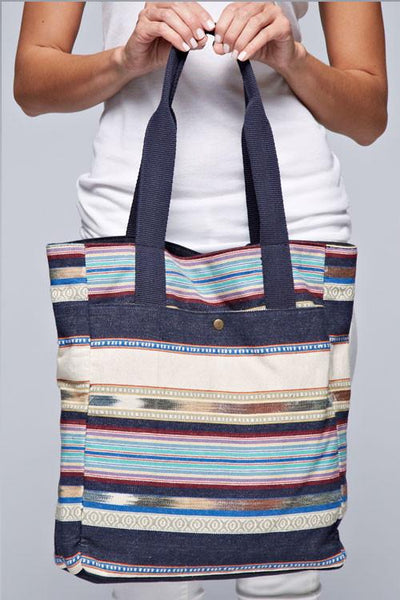 Boho Striped Front Pocket Tote Bag-GoGetGlam