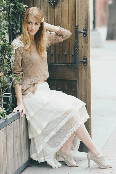 Boho Waterfall Semi Sheer Hi Lo Skirt-GoGetGlam