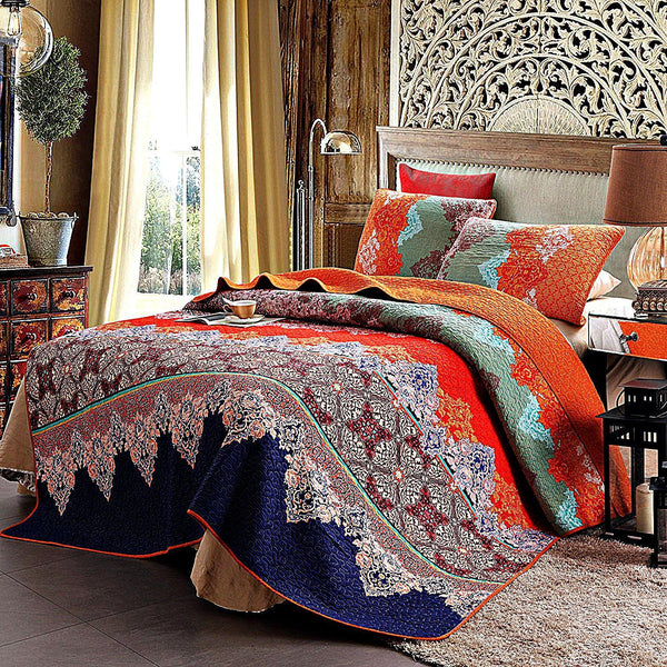 Meet Me In Morocco Cotton 3-PC Paisley Boho Reversible Quilt Set-GoGetGlam