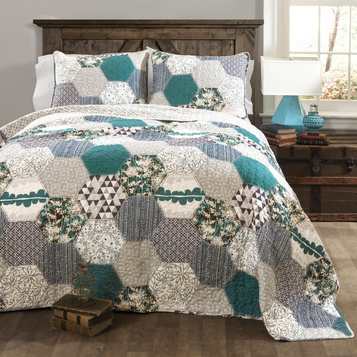 Breclynn 3 PC Turquoise Quilt Bedding Boho Bed Collection-GoGetGlam