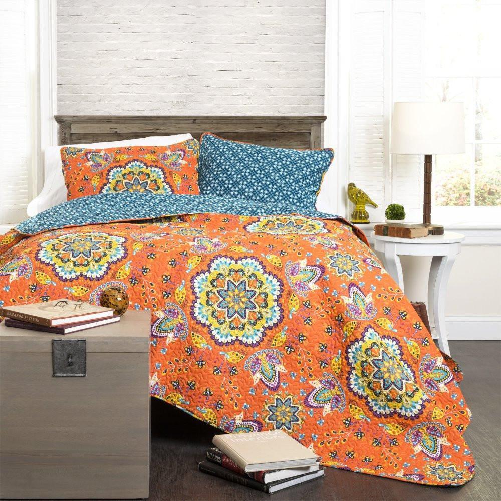 Breklyn Boho Bohemian Mandala Orange 3 Piece Quilt Bedding SET-GoGetGlam