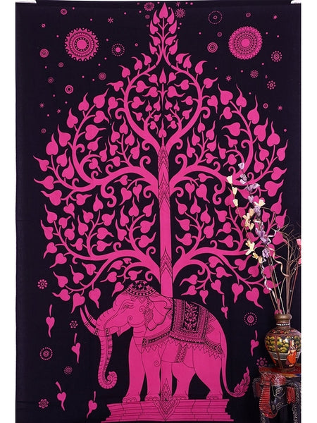 Bright Pink Tree of Life Boho Home Fabric Tapestry - GoGetGlam Boho Style