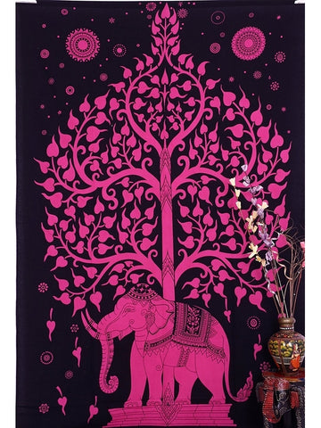Bright Pink Tree of Life Boho Home Fabric Tapestry-GoGetGlam
