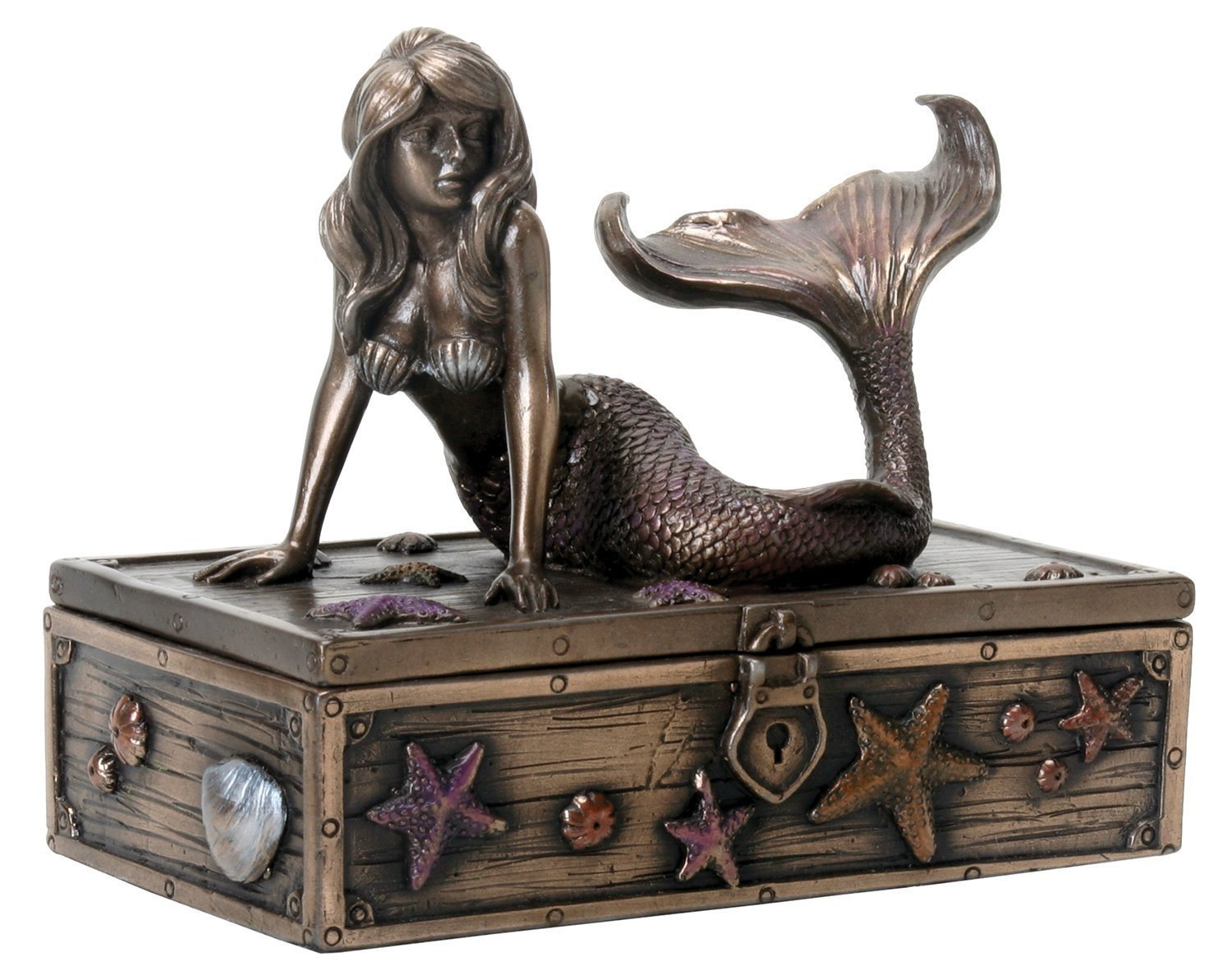 Bronzed Metal Mermaid Trinket Jewelry Box-GoGetGlam