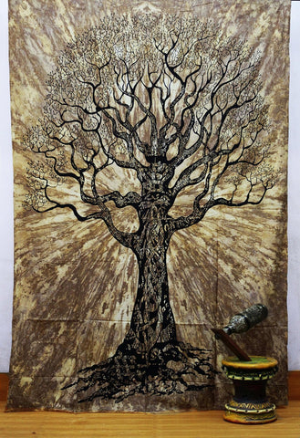 Brown Tree of Life Boho Wall Bed Bohemian Tapestry-GoGetGlam