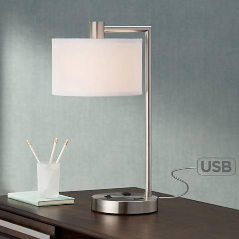 Brushed Nickel Desk Lamp with Outlet and USB-GoGetGlam
