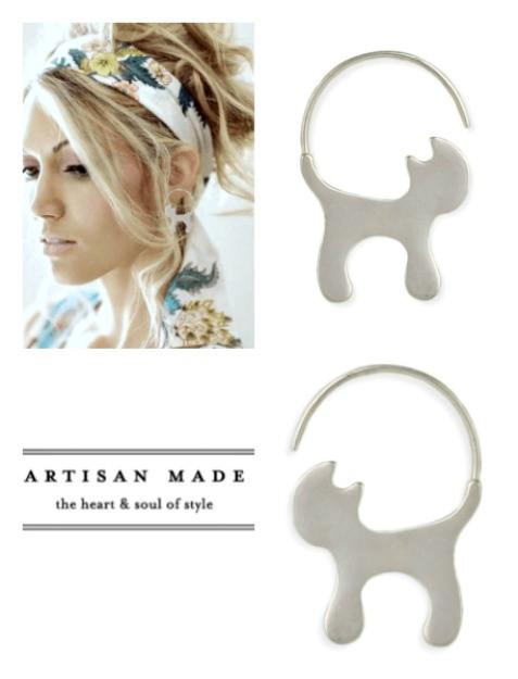Brushed Silver Cat Earrings-GoGetGlam