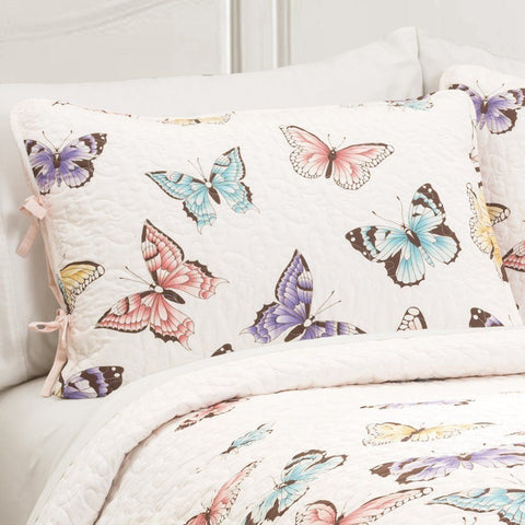 Butterfly Kisses Girls Ruffle Quilt Bedding SET-GoGetGlam