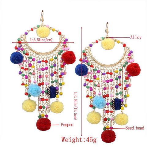 Calliope Pom-Pom Festival Earrings-GoGetGlam