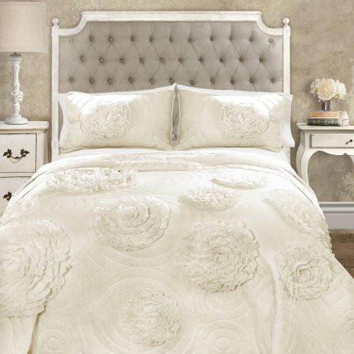 Calliope Rose 3 PC Flower Ruffle Quilt Bedding Collection-GoGetGlam