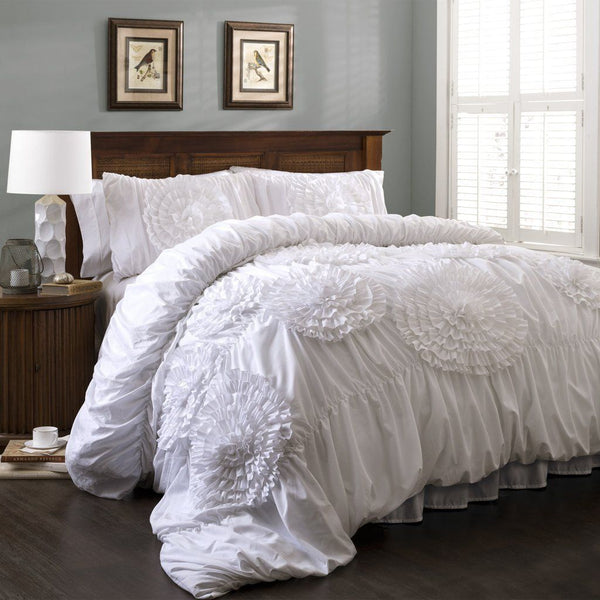 Calliope Rose 3 PC White Flower Ruffle Comforter Bedding SET-GoGetGlam