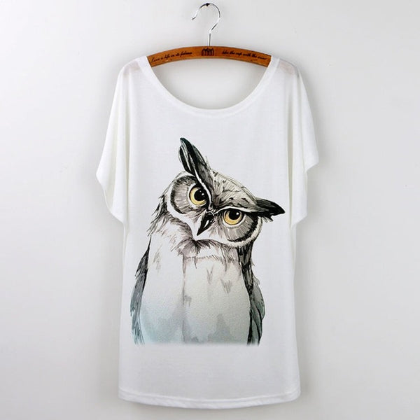 Owl Graphic T-Shirt-GoGetGlam