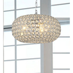 Campbell Oval Crystal Chrome Pendant Chandelier-GoGetGlam