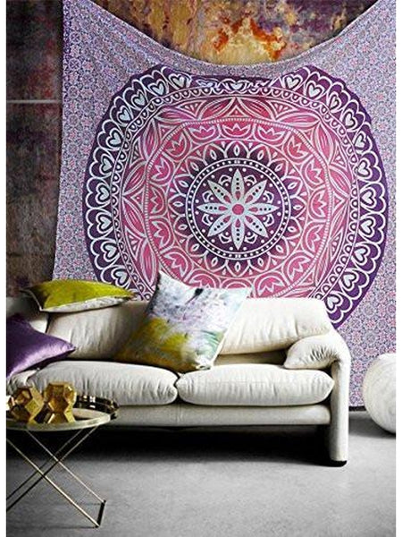 Cara Bohemian Purple Pink Wall Hanging Bed Beach Tapestry-GoGetGlam
