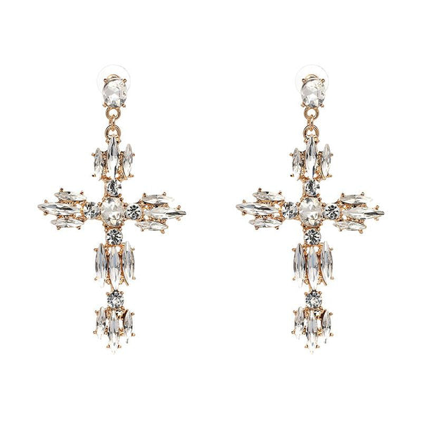 Casii Clear Crystal Cross Earrings-GoGetGlam