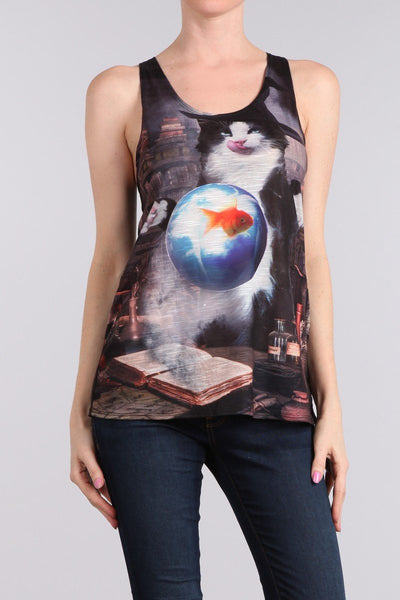 Cat Casts A Love Spell Racerback Tank Top - Boho Bohemian Decor