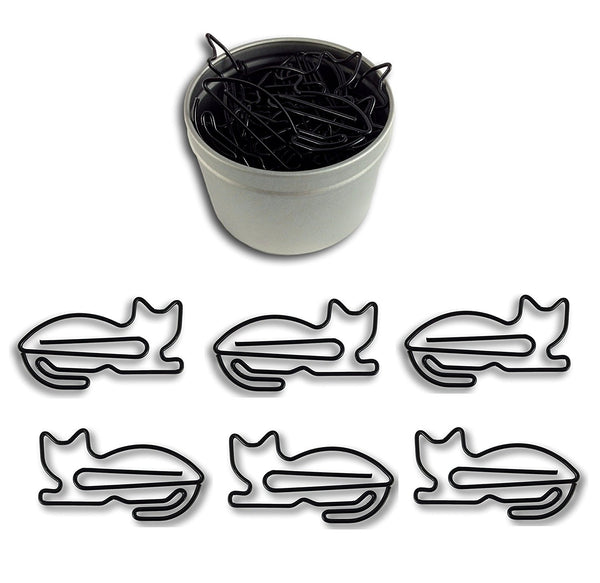 Cat Shaped Paper Clips 50 Count in Tin - Boho Bohemian Decor