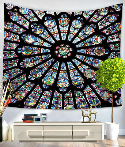 Cathedral Stained Glass Mandala Bed Wall Tapestry - Boho Bohemian Decor