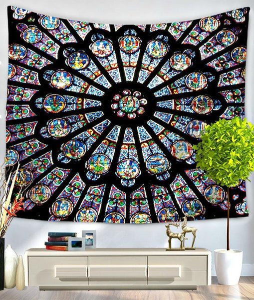 Cathedral Stained Glass Mandala Bed Wall Tapestry-GoGetGlam