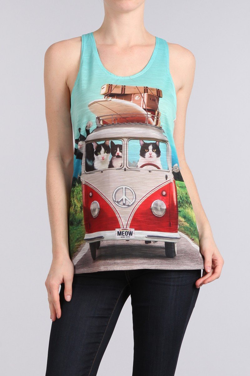 CATS IN CAMPER Racerback Tank Top-GoGetGlam