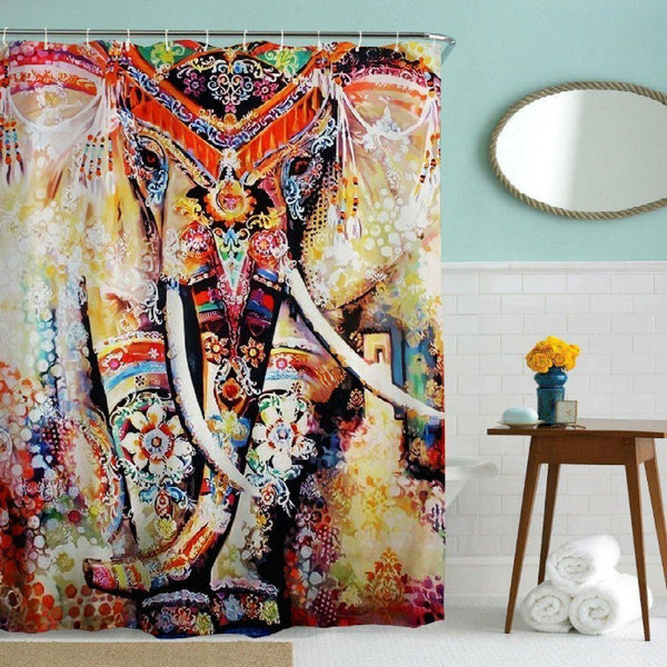 Watercolor Elephant Boho Shower Curtain - GoGetGlam Boho Style