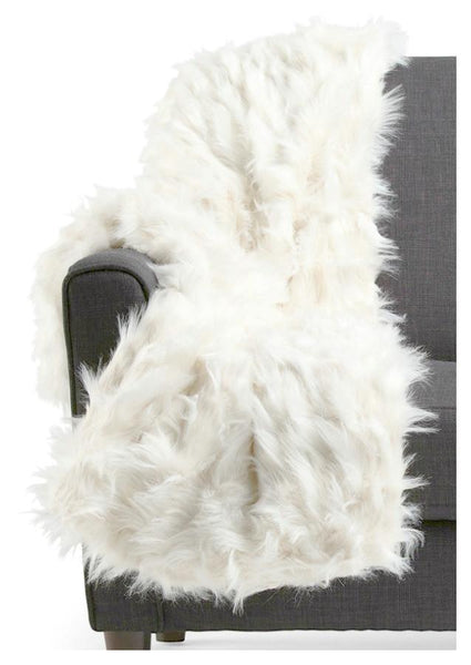 Celebrity Home Luxe Faux Mohair White Fur Throw - Boho Bohemian Decor