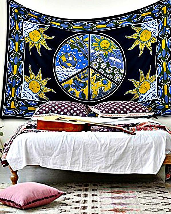 Celestial Sun Moon Peace Sign Boho Hippie Wall Tapestry-GoGetGlam