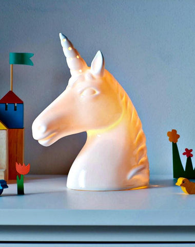 Ceramic Light Projecting Unicorn Night Light - Boho Bohemian Decor