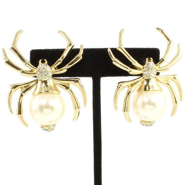 Charlotte Gold Pearl Spider Earrings-GoGetGlam