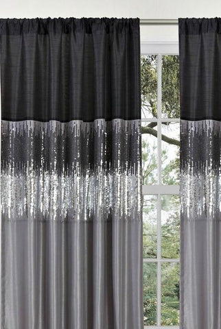 Ciara Sequin Black Gray Faux Silk Lined Panel Curtain-GoGetGlam