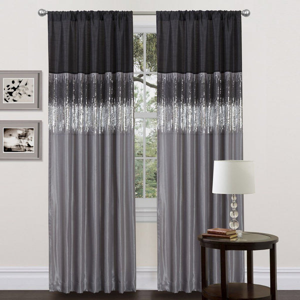 Ciara Sequin Black Gray Faux Silk Lined Panel Curtain - Boho Bohemian Decor