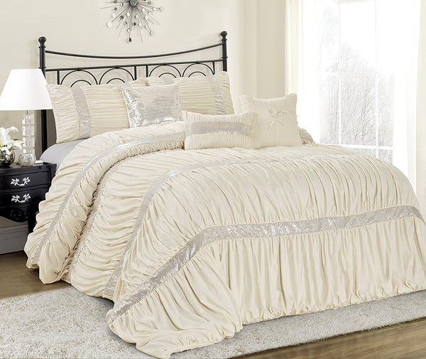 Ciara Sequin Ruched Ivory 7PC Comforter Bed Set - Boho Bohemian Decor