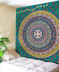 Circle of Life Colorful Boho Home Fabric Tapestry - Boho Bohemian Decor