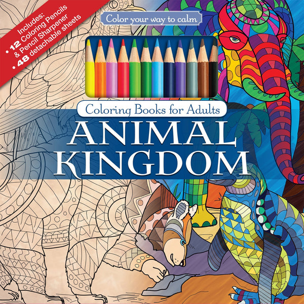 Color To Calm Adult Coloring Book with Pencils - Animals - GoGetGlam Boho Style