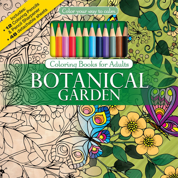 Color To Calm Adult Coloring Book with Pencils - Botanical Garden - GoGetGlam Boho Style
