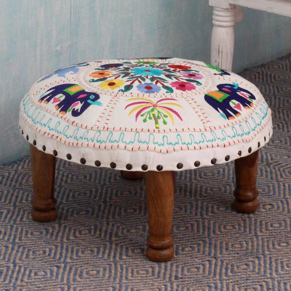 Colorful Global Bohemian Floral Elephant Hand Knit Stool Footrest-GoGetGlam