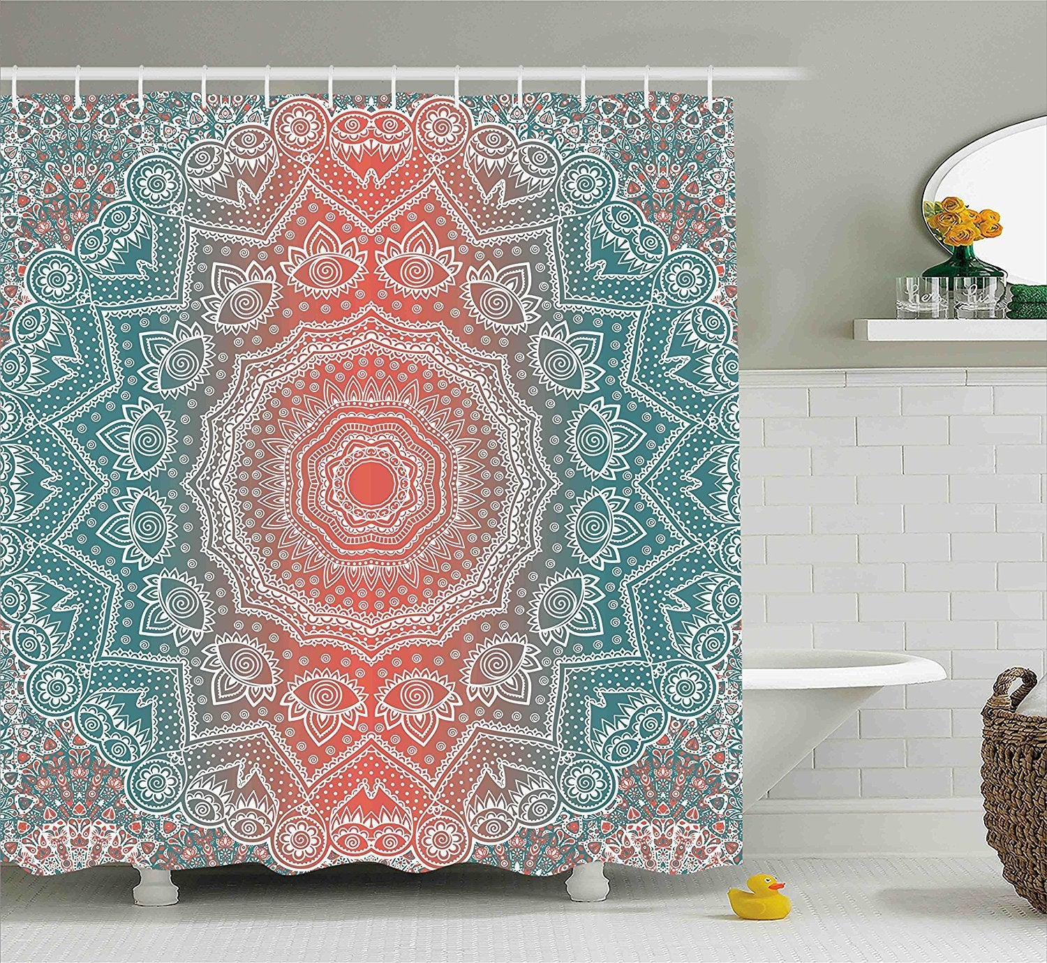 Coral Teal Boho Mandala Fabric Shower Curtain