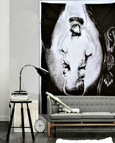 Couples Him Facing Her Boho Art Wall Cloth Tapestry-GoGetGlam