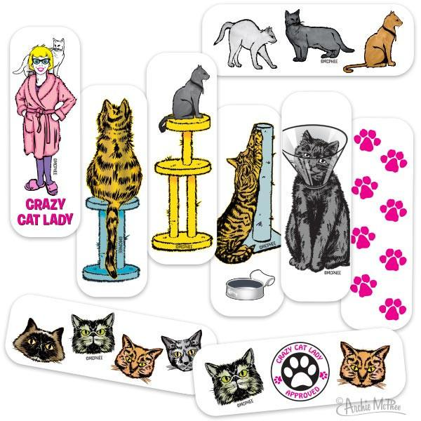 Crazy Cat Lady Cuts Adhesive Band-Aids-GoGetGlam