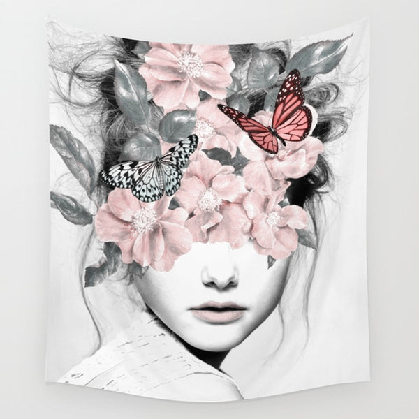 Butterfly Thoughts Fabric Wall Tapestry-GoGetGlam