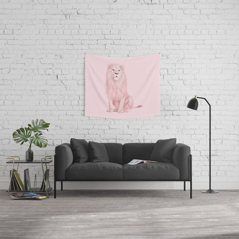 Lion in Pink Fabric Wall Tapestry-GoGetGlam