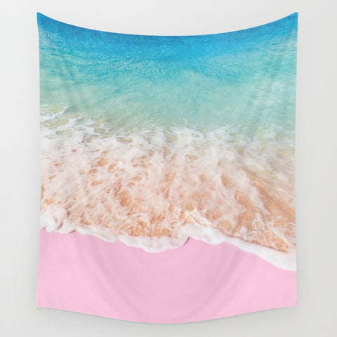 Pink Beach Surf Fabric Wall Tapestry - Boho Bohemian Decor