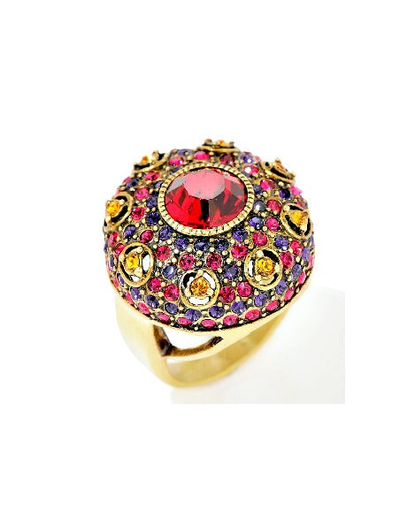 Heidi Daus Infusion Of Color Red Swarovski Ring-GoGetGlam