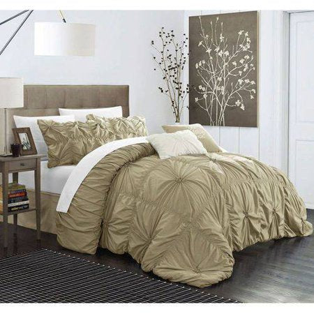 6 PC Hannah Olive Green Ruche Pleat Comforter SET