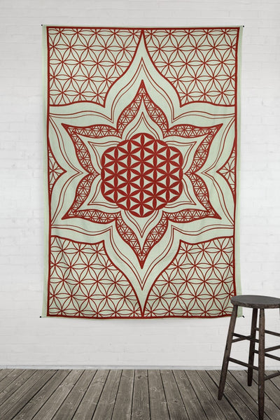 Deep Red Mandala Lotus Flower Hippie Hippy Wall Hanging Throw Tapestry-GoGetGlam