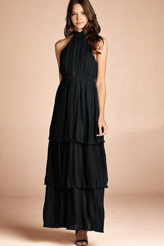 Emily Black Tier Layered Maxi Dress - GoGetGlam Boho Style