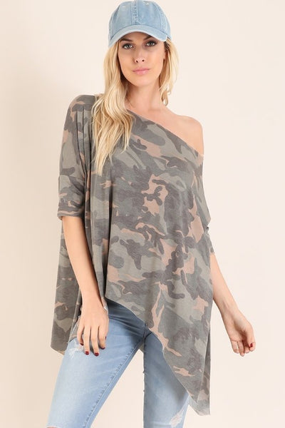 Military Camo Asymmetrical Tunic Top - GoGetGlam Boho Style