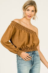 Tressa Off Shoulder Crop Top - GoGetGlam Boho Style